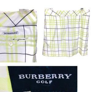 Burberry Golf Skort, Yellow-Green Plaid, Size 8